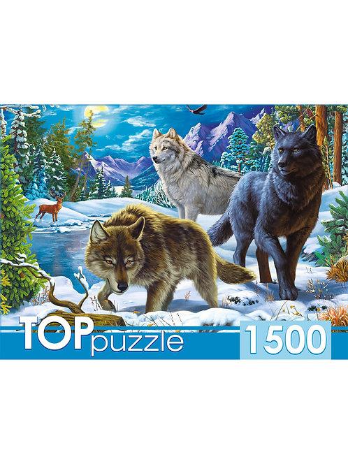 TOPpuzzle. ПАЗЛЫ 1500 элементов. ХТП1500-1587 Волки в ночном лесу