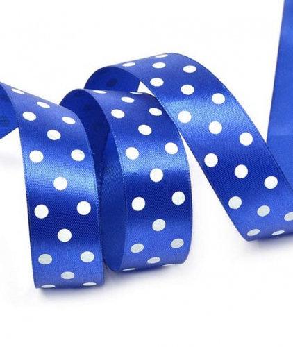 Лента упаковочная атласная Горошек,25 мм х 22 м,синий БЛ-5652