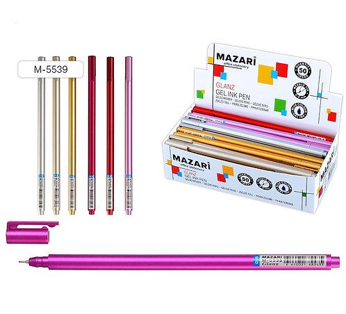 """Ручка гелевая """"Glanz"""" стержень игольчатый корпус цветной СИНЯЯ MAZARI M5539 (12ш"""