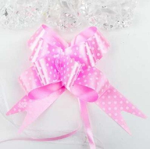 Бант-бабочка с принтом Горошек, 3 см, розовый БЛ-6500