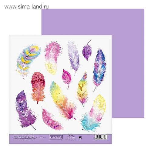 Бумага для скрапбукинга «Пёрышки», 20 × 21.5 см, 180 г/м