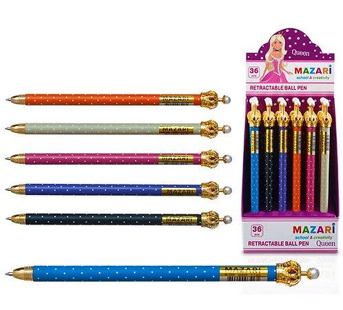 """Ручка автомат """"Queen"""" корпус цветной в горошек с короной СИНЯЯ MAZARI M-7306 (36"""