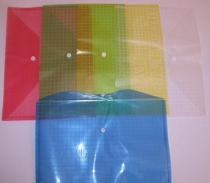 Папка-конверт на кнопке ПЛАСТИК А4 150мкм в клетку цветная ASMAR AR-209-14 (12шт