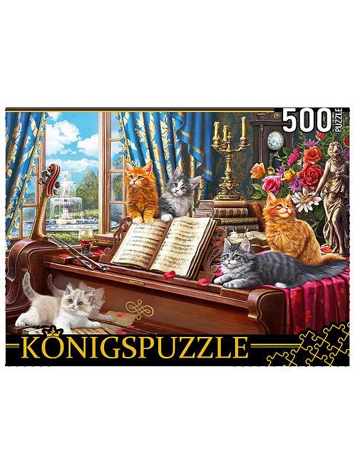 Konigspuzzle. ПАЗЛЫ 500 элементов. ХK500-3574 КОТЯТА НА РОЯЛЕ