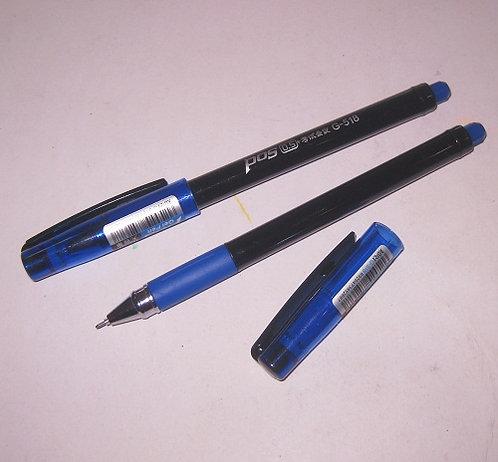"""Ручка гелевая """"Pos"""" с резинкой корпус черный СИНЯЯ G-518 (12шт/уп)"""