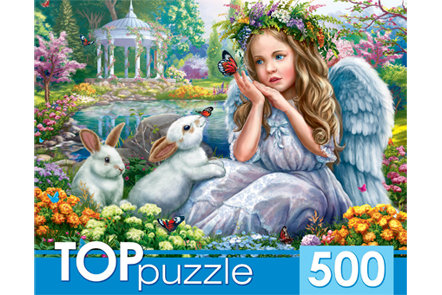 TOPpuzzle. ПАЗЛЫ 500 элементов. ХТП500-4238 АНГЕЛОЧЕК И КРОЛИКИ