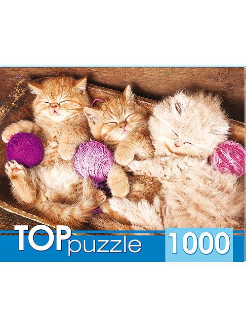 TOPpuzzle. ПАЗЛЫ 1000 элементов. ГИТП1000-4140 Спящие котята с клубками