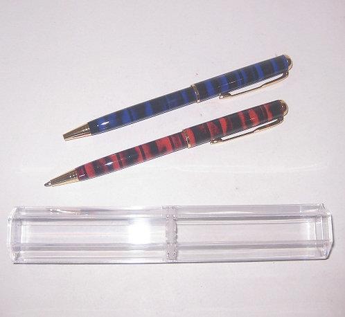 Ручка ПОДАРОЧНАЯ поворотная корпус красный/синий в полоску СИНЯЯ 1859 в футляре
