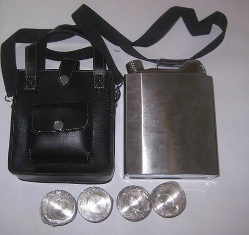 Набор подарочный мужской фляга 53OZ(1590мл)+3стопки+лейка ХСН 03235 в кожаном че