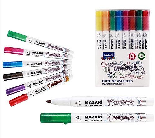 "Набор маркеров-краски+контур 8цв 1-2мм ""Contour"" MAZARI M-6082-8 в пластивокой у"