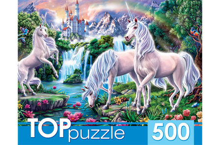 TOPpuzzle. ПАЗЛЫ 500 элементов. ХТП500-4237 ЕДИНОРОГИ И ЗАМОК