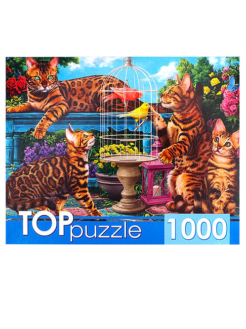 TOPpuzzle. ПАЗЛЫ 1000 элементов. ХТП1000-414 Бенгальские коты в саду