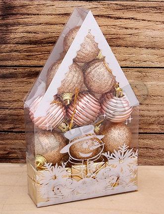 """Набор шаров новогодних 12шт 40мм """"Красивый домик"""" MILAND НУ-0461/0462 в бл"""