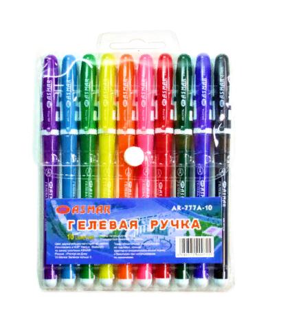 Набор гелевых ручек 10цв корпус цветной с буквой ASMAR AR-777-10 (12шт/уп)