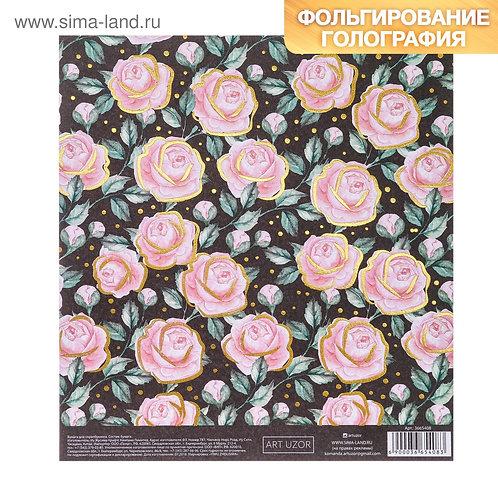 Бумага для скрапбукинга с фольгированием «Розы в саду», 15.5 × 17 см, 250 г/м