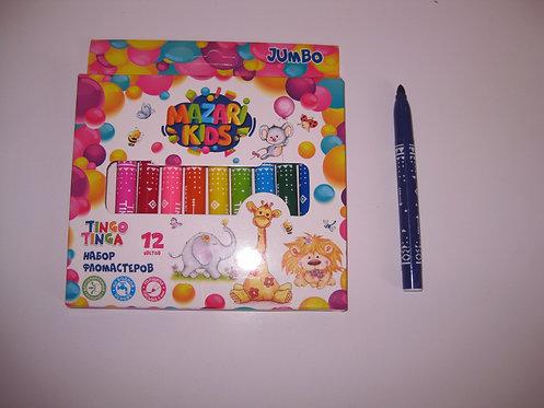 """Фломастеры 12цв """"Tingo tinga"""" JUMBO MAZARI M-5070-12 в картонной упаковке"""