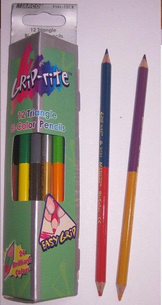 Карандаши цветные 12шт 24цв треугольные ДВУСТОРОННИЕ MARCO 9101-12 в картонной у