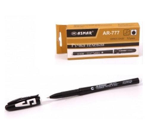 Ручка гелевая корпус черный с буквой ЧЕРНАЯ ASMAR AR-777 (12шт)(144шт/уп)(1152шт