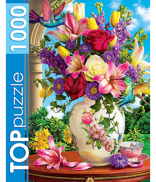 TOPpuzzle. ПАЗЛЫ 1000 элементов. ХТП1000-2172 Летний букет и колибри