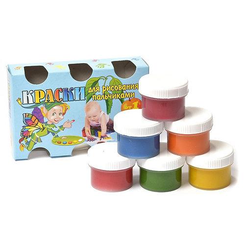 Краски пальчиковые 6цв 200г от 1 года OLKI 7037 в коробке
