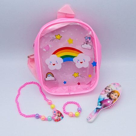 Набор для девочек цепочка+браслет+кошелек/расческа KA-8009 в рюкзачке