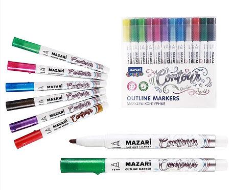 "Набор маркеров-краски+контур 12цв 1-2мм ""Contour"" MAZARI M-6083-12 в пластивокой"