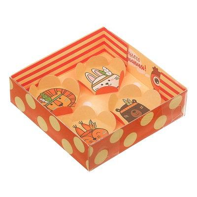 "Коробка для макарун с подложками ""Ассорти"" 120х120х30мм ДАРИТЕ СЧАСТЬЕ 313"