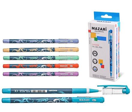 """Ручка шариковая """"Shadow"""" 0,7мм с резинкой стержень игольчатый корпус цветной СИН"""