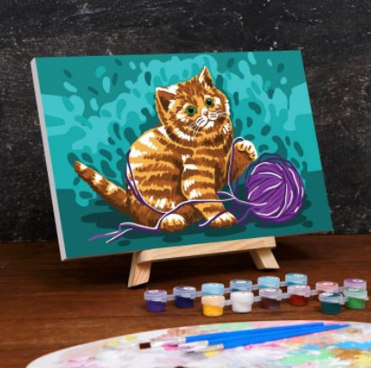 Картина по номерам на холсте с подрамником «Котёнок с клубком» 20×30 см