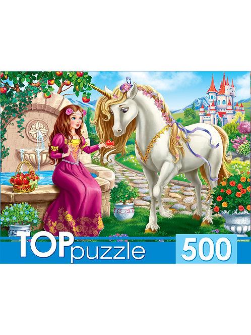 TOPpuzzle. ПАЗЛЫ 500 элементов. ХТП500-4131 ПРИНЦЕССА И ЕДИНОРОГ