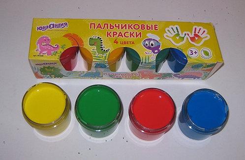 Краски пальчиковые 4цв по 35мл ЮНЛАНДИЯ 191337 в коробке