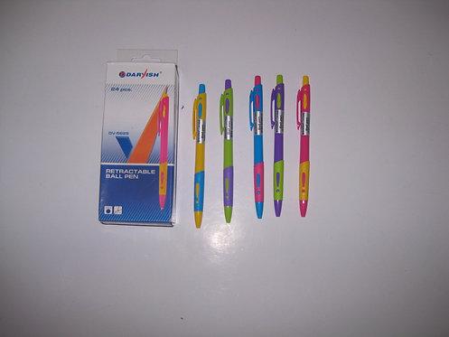 Ручка автомат с резинкой корпус цветной СИНЯЯ DARVISH DV-5625