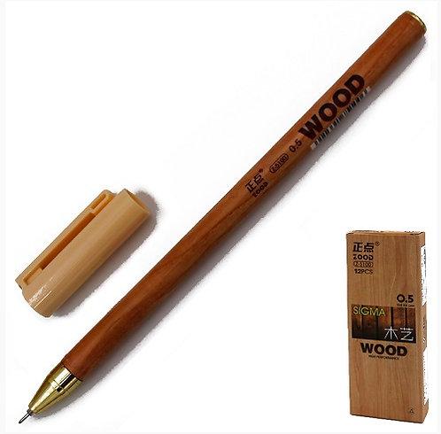 """Ручка гелевая """"Wood"""" корпус дерево ЧЕРНАЯ 5100 (12шт/уп)(144т/уп)"""