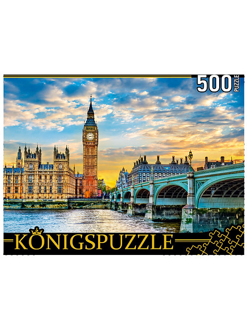 Konigspuzzle. ПАЗЛЫ 500 элементов. ШТK500-3575 БИГ-БЕН И ВИСТМИСТЕРСКИЙ МОСТ НА