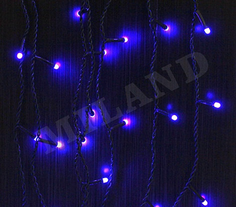 Гирлянда-штора электрическая 4,2х0,4/0,6м 200лампочек 8режимов черный провод MIL