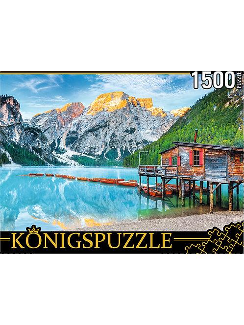Konigspuzzle. ПАЗЛЫ 1500 элементов. ГИK1500-0672 ИТАЛИЯ. ОЗЕРО БРАЙЕС В АЛЬПАХ