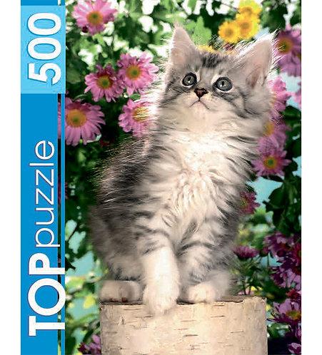 TOPpuzzle. ПАЗЛЫ 500 элементов. КБТП500-6798 Котенок в цветах