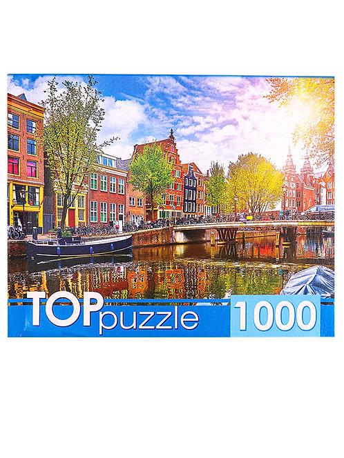 TOPpuzzle. ПАЗЛЫ 1000 элементов. ГИТП1000-4139 Солнечный канал в Амстердаме