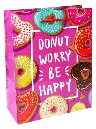 Optima Пакет подарочный с глянцевой ламинацией 18x23x8 см  (M) Пончики сердечки,