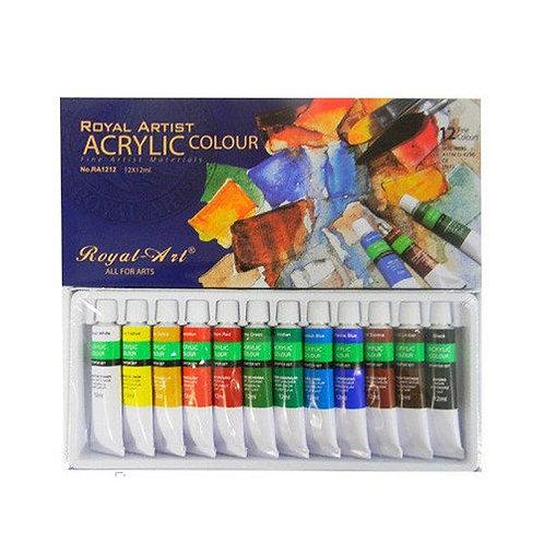Краска акриловая художественная 12цв 12мл в тубах ROYAL ART RA1212 в коробке (6ш