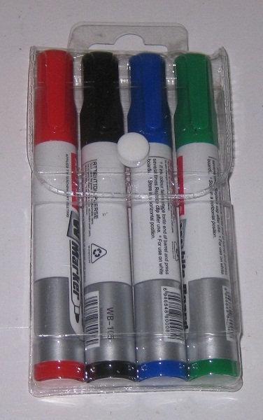 Набор маркеров спиртовых для доски 4цв черный+красный+синий+зеленый WEIBO WB-105