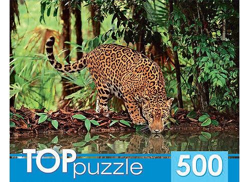TOPpuzzle. ПАЗЛЫ 500 элементов. КБТП500-6801 Ягуар на водопое