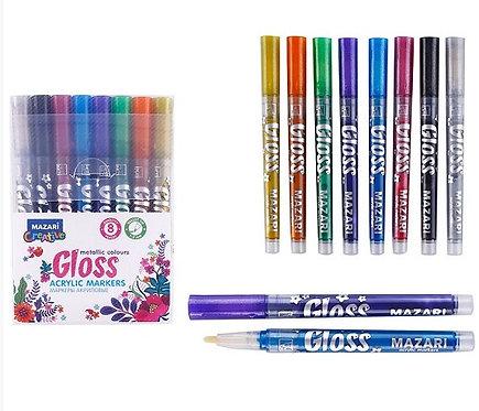 """Набор маркеров-красок 8цв """"Gloss"""" 1-2мм металлик MAZARI M-15076-8 в пластиковой"""