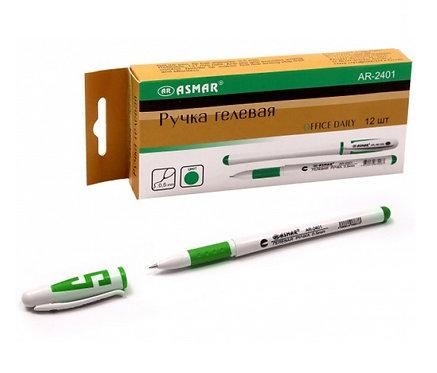 Ручка гелевая белый корпус с буквой ЗЕЛЕНАЯ ASMAR/MAZARI AR-2401/5505С-73 (12шт/