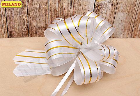 Бант-шар Золотые линии (3 см.) белый БЛ-8004