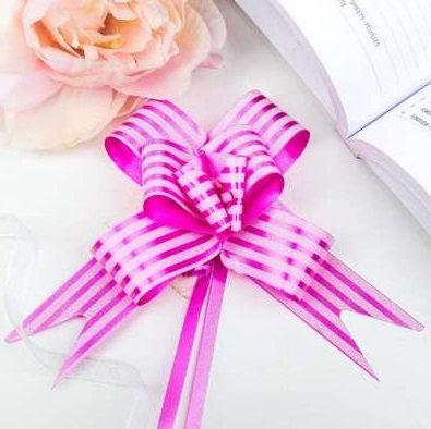 Бант-бабочка с принтом Полоски, 3 см, розовый БЛ-6505