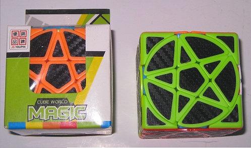 Кубик-Рубика 3х3х3 СРЕДНИЙ 57х57мм форма треугольник+круг черный с цветной оконт