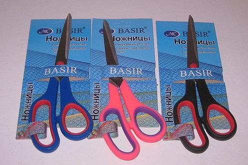 Ножницы офисные 220мм ручки пластиковые цветные BASIR MC-501 на планшете (12шт/у
