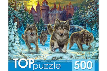 TOPpuzzle. ПАЗЛЫ 500 элементов. ХТП500-4219 ВОЛКИ И СНЕЖНЫЙ ЗАМОК