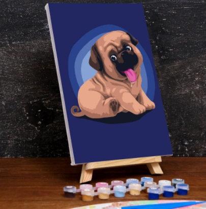 Картина по номерам на холсте с подрамником «Малыш Мопс» 20×30 см
